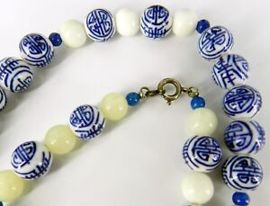 Chinese Blue White Hand Painted Porcelain Jade Beads Necklace Sterling Silver