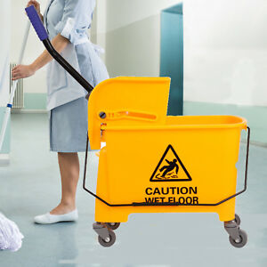 Yellow Commercial 20l Wet Mop Bucket Removable Wringer Combo Yellow Side Press