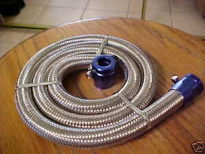 Hose 5 16 X 3 Fuel Vacuum Line Kit Braided Stainless Flexible Blue Clamps