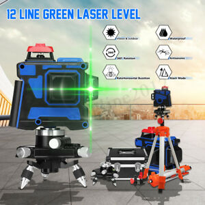3d 12line 360 120x Green Light Laser Level Self leveling Measure Tool W Tripod