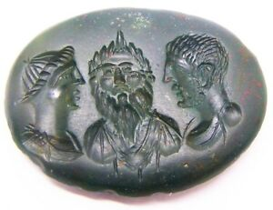 Unusual 16th 17th Century Renaissance Heliotrope Intaglio Of Classical Busts