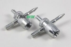 2pc 4 Way Tire Valve Stem Core Remover Installer Tool Heavy Duty