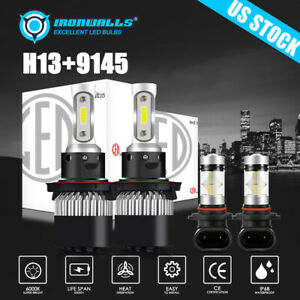 4x Cob Combo H13 Led Headlight High Low 9145 Fog Light For Ford F 150 2004 2014