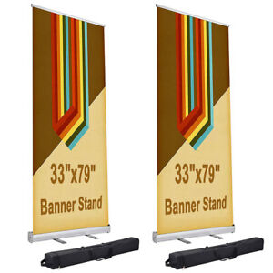 2 Pcs 33x79 Aluminum Retractable Roll Up Banner Stand Trade Show Display W Bag
