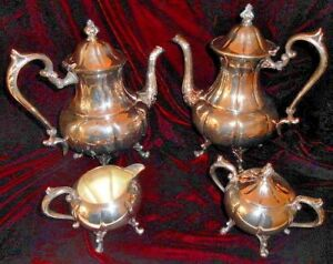 Antique 5 Piece Sheridan Silver Tea Coffee Service Set Silver On Copper