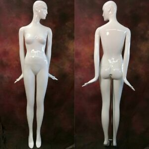 White Gloss Full Life Size Female Mannequin With Face Head Patina V Abstract