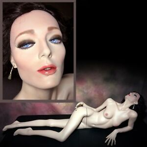 Vintage Rootstein Realistic Mannequin Lounging Laying Maddy Glass Eyes