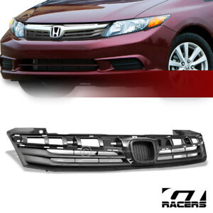 For 2012 Civic Fb6 4 Door Matte Black Factory Style Front Hood Bumper Grille Abs