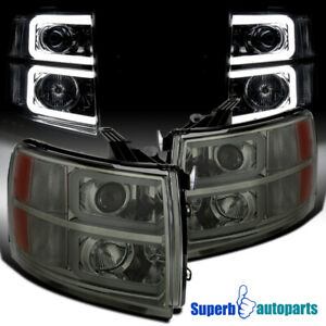 For 2007 2014 Silverado Led Drl Projector Headlights Front Head Lamps Smoke
