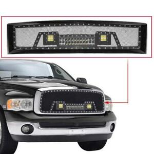 Car Front Bumper Mesh Grille With Led Light For Chevy Silverado 1500 07 13 2012