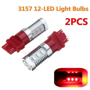 2x Red 3157 Led Bulbs Flashing Strobe Blinking Lights Brake Tail Stop Lamp Us