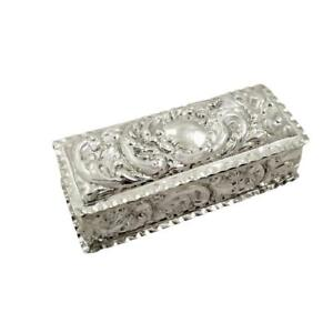 Antique Edwardian Sterling Silver Ring Box 1902