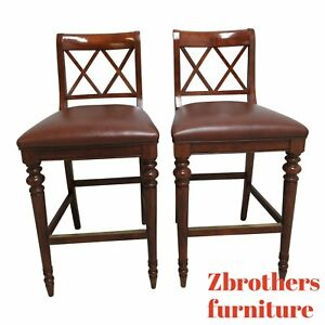 Pair Ethan Allen British Classics Leather Bar Stools