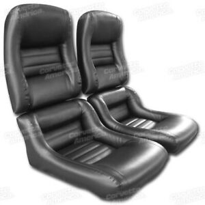 79 81 Corvette C3 Mounted Seat Upholstery Covers Black Vinyl With Foam Set New