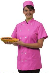 Chef Coat Jacket Small Raspberry 12 Button Front Female Fitted Uniform S s New