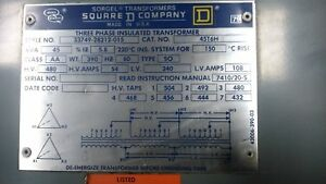 Square D 45 Kva 3 Phase Insulated Transformer Cat No 45t6h