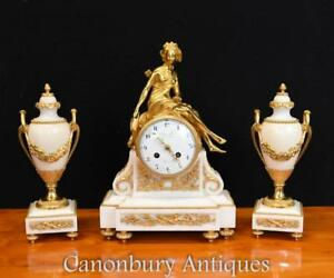 French Empire Marble Gilt Clock Set Garniture Urns 1910
