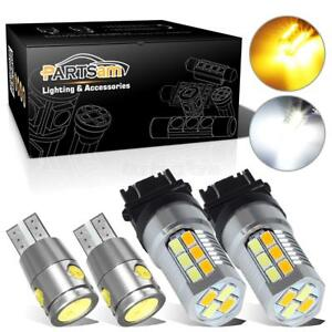 4x T10 192 Error Free White Led Reverse Light 3157 Dual Color Switchback Bulbs