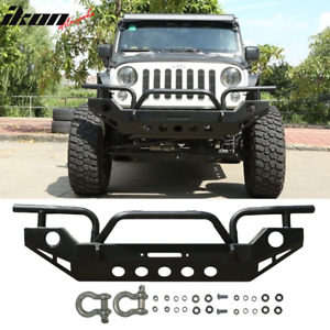 Fits 07 18 Jeep Wrangler Jk Front Bumper Guard Black With Winch Plate