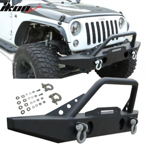 Fits 07 19 Jeep Wrangler Front Winch Bumper Bull Bar Grille Guard Textured Black
