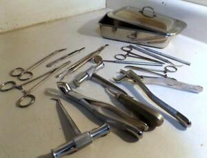Lot 15 Vtg Dental Tools instruments In Tray Some Marked Germany Tarno Etc