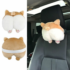 Cute Pets Puppy Corgi Butt Shaped Car Seat Headrest Pillow Sofa Cushion Cover