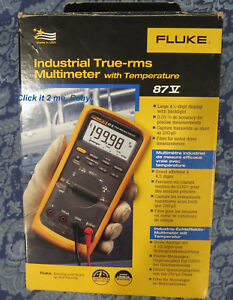 Brand New In Box Fluke 87v 87 v Industrial True rms Multimeter W Temperature