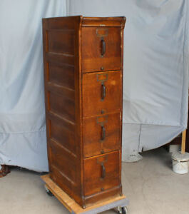 Antique Oak File Filing Cabinet 4 Drawer Globe Paneled Sides