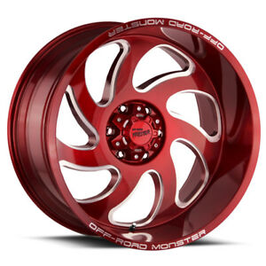 4 22 Inch Offroad Monster M07 22x12 8x6 5 44mm Candy Red Wheels Rims