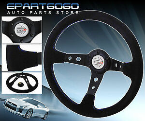350mm Suede Deep Dish Black Leather Blue Stitching Steering Wheel R Button Horn