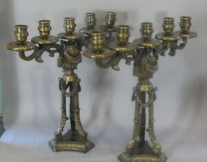 Pair Of Large French Antique Gilt Bronze Candelabra C 1900 38 Lbs
