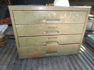 Vintage Advertising Metal Display Co Parts Drawer Bin Cabinet From Machine Shop