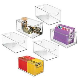 Mdesign Stackable Plastic Storage Bin Container Home Office Desk And Drawer For