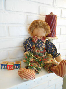 Primitive Handmade Ted Doll With Blocks Ready For Christmas 16 In
