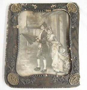 Antique Print In Ornate Wooden Picture Frame 21 X 25 Under Glass Damage As Is