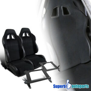 05 14 Ford Mustang Black Cloth Pvc Leather Reclinable Racing Seats Pair brackets