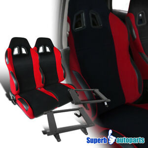 79 98 Ford Mustang Black red Cloth Pvc Leather Edge Racing Seats steel Brackets