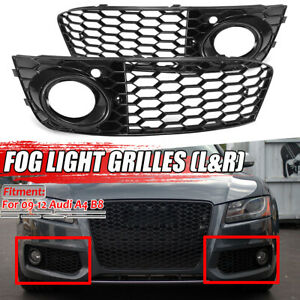 2x Honeycomb Mesh Fog Light Vent Grill Grille Rs4 Style For Audi A4 B8 2009 2012