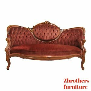 Antique Victorian Hump Back Carved Love Seat Sofa Couch