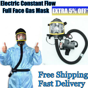 Us Electric Air Supplied Fed Full Face Gas Mask Respirator System Anti Dust Sand