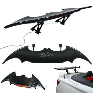 Batman Style With Led Taillight Real Carbon Fiber Rear Trunk Spoiler Wing