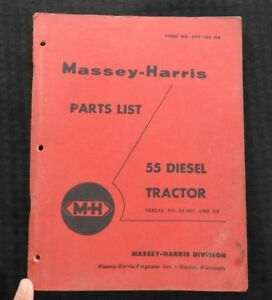 Genuine 1957 Massey ferguson Mf 55 Diesel Tractor Parts Catalog Manual Very Nice