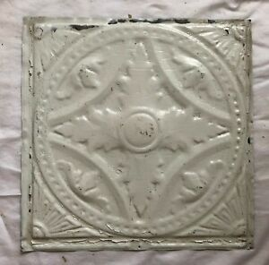 1890 S 12 X 12 Antique Tin Ceiling Tile White Metal Reclaimed Anniversary 548 18