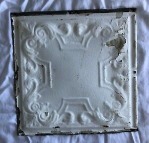 1890 S 12 X 12 Antique Tin Ceiling Tile White Metal Reclaimed Anniversary 532 18