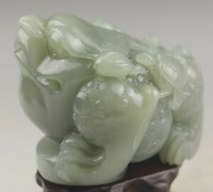 Chinese Old Natural Hetian Jade Hand Carved Dragon Design Statue 3 1 Inch