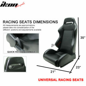 Fits 7 Series Pvc Black Racing Seats Reclinable Pair Without Mounting Brackets
