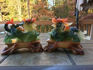 8 H Chinese Feng Shui Gilt Wealth Dragon Pixiu Statue 1pair