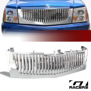 For 2002 2006 Cadillac Escalade Chrome Vertical Front Hood Bumper Grill Grille