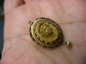 Antique Victorian Art Nouveau Lava Cameo In High Relief Brooch Pin 71