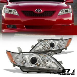 For 2007 2009 Toyota Camry Chrome Housing Projector Headlights Signal Lamp Amber